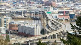 Time lapse of closeup freeway traffic on Marquam bridge in downtown city of Portland Oregon along Willamette River 4k