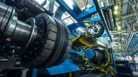 time lapse closeup huge structure part moves along manufacturing workshop in tire production factory time lapse structure part stock video footage