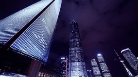 Time lapse,cloud flying modern urban skyscraper at night.   gh2_07072 stock footage