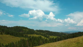 Time lapse of clouds and beautiful green mountains with coniferous trees stock video footage
