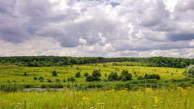 Time Lapse. Clouds float over the field, forest and river. Summer. stock video footage