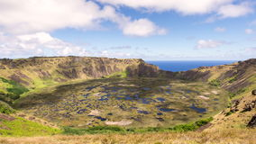 Time lapse of Clouds flow over  Volcano Rano Kau at  Rapa Nui, Easter Island Chile stock footage