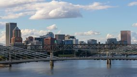Time lapse of clouds and freeway traffic over city of Portland Oregon 4k stock footage