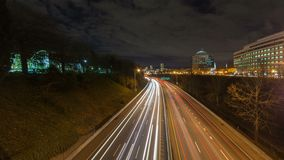 Time lapse of clouds and long exposure freeway traffic light trails on interstate 84 highway in Portland Oregon 4k UHD stock footage