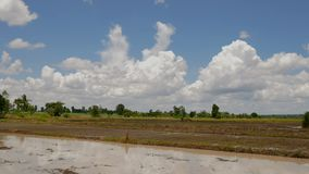 Time lapse clouds moving on the sky with the fields.  stock video footage