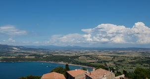 Time-lapse of clouds near the sea and the plain views in 4K stock footage