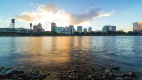 Time lapse of clouds over city of Portland Oregon along Willamette River 4k. Ultra high definition 4k time lapse movie of moving clouds over downtown city of stock video