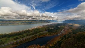 Time Lapse of Clouds over Columbia River Gorge and Highway 84 Freeway Traffic 4k UHD stock video footage