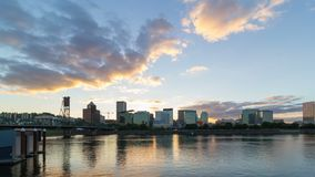 Time lapse of clouds over downtown city skyline of Portland Oregon along Willamette River. Ultra high definition 4k time lapse movie of moving clouds over stock video footage