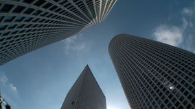 Time Lapse of clouds over high rise buildings in Tel aviv, Israel stock footage