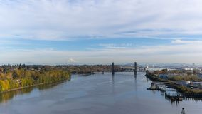 Time lapse of clouds over industrial area in Portland OR along Willamette River 4k uhd stock footage