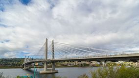 Time lapse of clouds over Portland Oregon with Tilikum Crossing and Marquam Freeway 4k uhd stock video footage