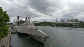 Time lapse of clouds over USS Jackson Navy ship and Portland OR city 4k uhd stock video