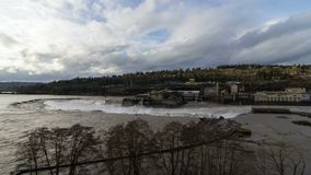 Time lapse of clouds over Willamette Falls in Oregon City 4k uhd stock video footage
