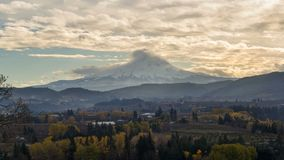 Time Lapse of clouds rolling over Mt Hood in Hood River Oregon Fall Season 4k stock footage