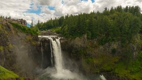 Time lapse of clouds and sky over Snoqualmie Falls in Washington state 4k UHD stock footage