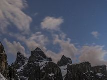 Time lapse clouds and stars over the Sella Group stock video