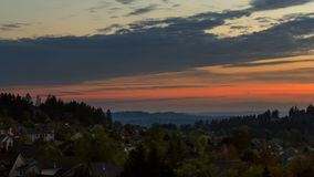Time lapse of clouds and sunset over Happy Valley Oregon 4k uhd stock video footage