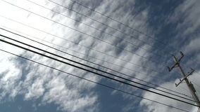 Time Lapse Clouds Utility Pole stock footage