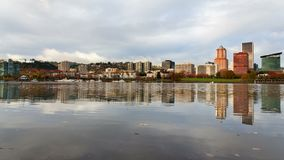 Time Lapse of Clouds and Water Reflection of City Skyline Portland Oregon UHD 4k stock footage