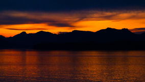 Time lapse colorful orange sunset on water stock footage