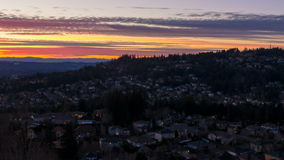 Time Lapse of Colorful Sunset Over Residential Homes in Suburban Happy Valley in Oregon 1080p stock video