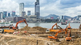 Time Lapse of Construction Excavators stock video footage