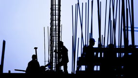 Time lapse - construction worker silhouette stock footage