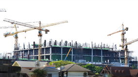 Time lapse crane working in big construction site. Of thailand stock footage