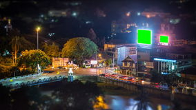 Time Lapse Crossroads Traffic And Big LED Green Screen Billboard. S stock video footage