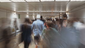 Time lapse of a crowd in a busy metro station stock footage