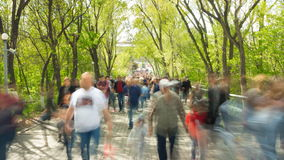 Time lapse of crowd of people walking at you with blurred images on the background of nature stock video