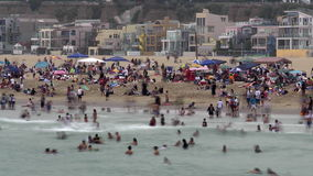Time Lapse of Crowded Beach in Santa Monica California stock video