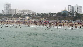 Time Lapse of Crowded Beach in Santa Monica California stock footage