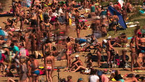 Time lapse of crowdy beach. Close up time lapse of crowdy beach in a sunny day stock footage