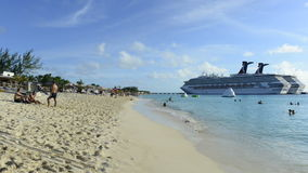 Time Lapse of Cruise ship on Tropical Beach stock video footage
