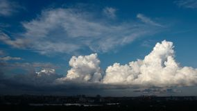 TIME-LAPSE: Cumulus clouds in the evening over Novosibirsk city, Russia. TIME-LAPSE: Beautiful Cumulus clouds in the evening over Novosibirsk city, Russia stock footage