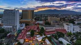 Time Lapse Day To Night Cityscape Of Chiang Mai, Thailand Stock Photos