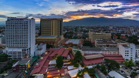 Time Lapse Day To Night Cityscape Of Chiang Mai, Thailand Stock Photo