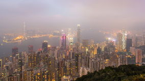 Time Lapse Day To Night Hong Kong City and Mist in Sky From High Viewpoint Of The Peak stock video