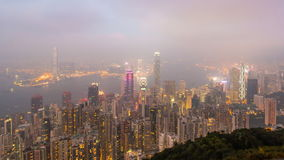 Time Lapse Day To Night Hong Kong City and Mist in Sky From High Viewpoint Of The Peak. Beautiful Time Lapse Day To Night Hong Kong City and Mist in Sky From stock video