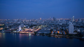 Time-lapse Day to night top view of bangkok stock footage