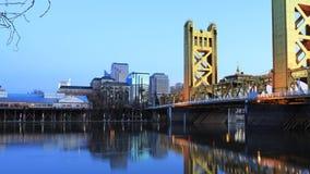 Time lapse day to night of the Tower Bridge, Sacramento 4K stock video