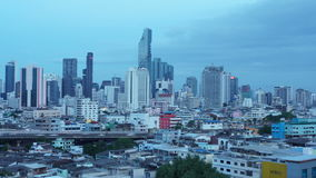 Time-lapse day to night view of bangkok building. Clip of Time-lapse day to night view of bangkok building stock video footage