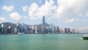 Hong kong cityscape famous bay summer day panorama 4k time lapse china stock video