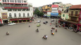 Time Lapse Daytime View of Traffic Intersection from Above - Hanoi Vietnam. View from a Caf� in Hanoi stock video