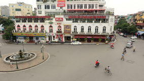 Time Lapse Daytime View of Traffic Intersection from Above - Hanoi Vietnam. View from a Caf� in Hanoi stock footage