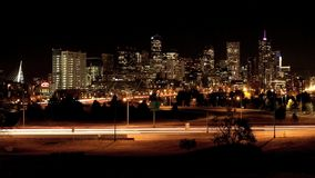 Time lapse de Denver Night almacen de video