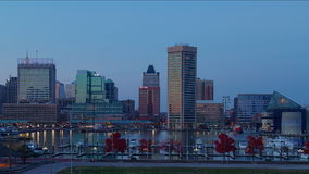 Time lapse de la puesta del sol en puerto interno de Baltimore, Maryland almacen de video
