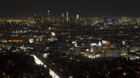 Time Lapse de Los Angeles céntrico en la noche almacen de video